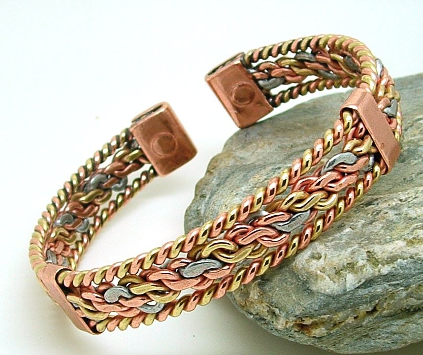 Three colour entwined magnetic bracelet with bands for How does magnetic jewelry work